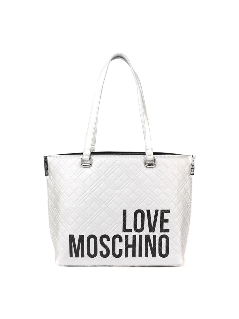 Love Moschino White Quilted Ecoleather Shopper Bag - White
