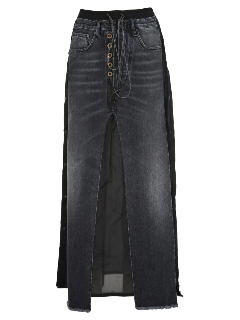 Ben Taverniti Unravel Project Unravel Unravel Project Long Layered Denim Skirt - BLACK