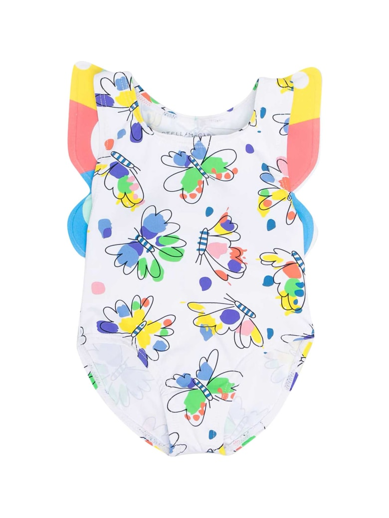 Stella McCartney Kids White Swimsuit With Multicolor Print - Unica