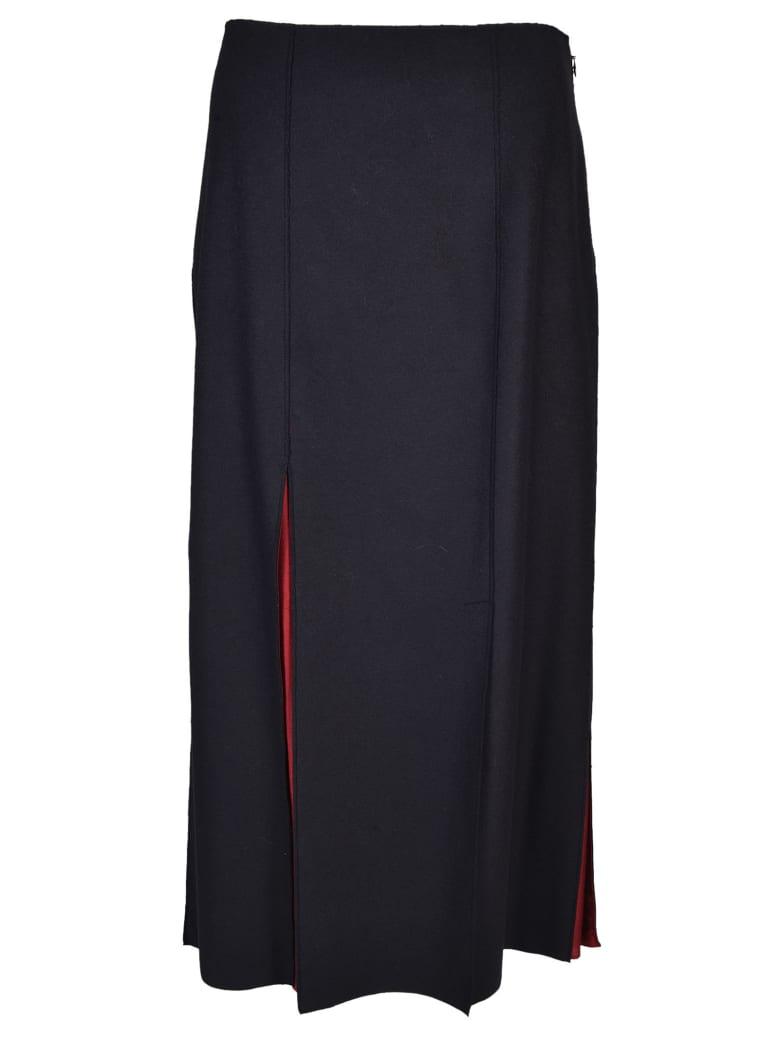 Jil Sander Navy Slit Detail Skirt - Blue