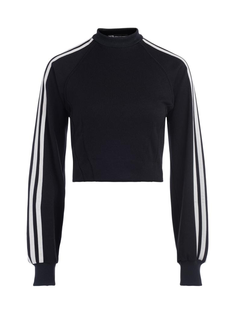 Y-3 Black Crewneck Sweatshirt With White Side Stripes - NERO