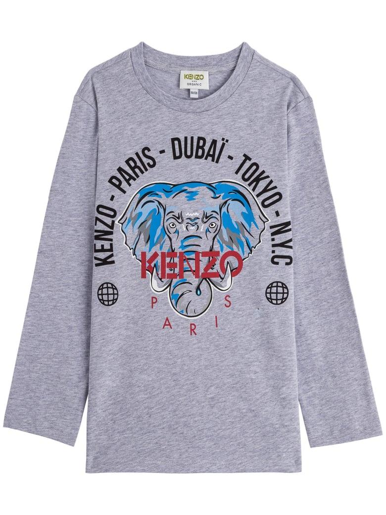 Kenzo Kids Jersey T-shirt With Print - Grey