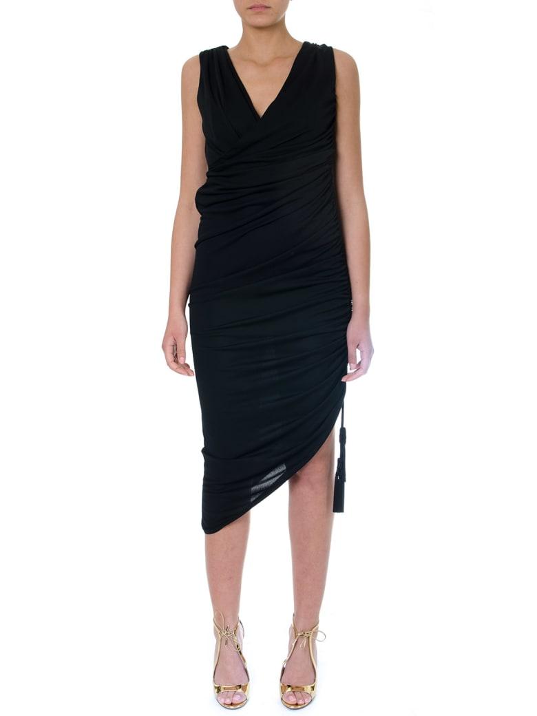 Lanvin Black Asymmetric Dress In Mixed Cotton - Black