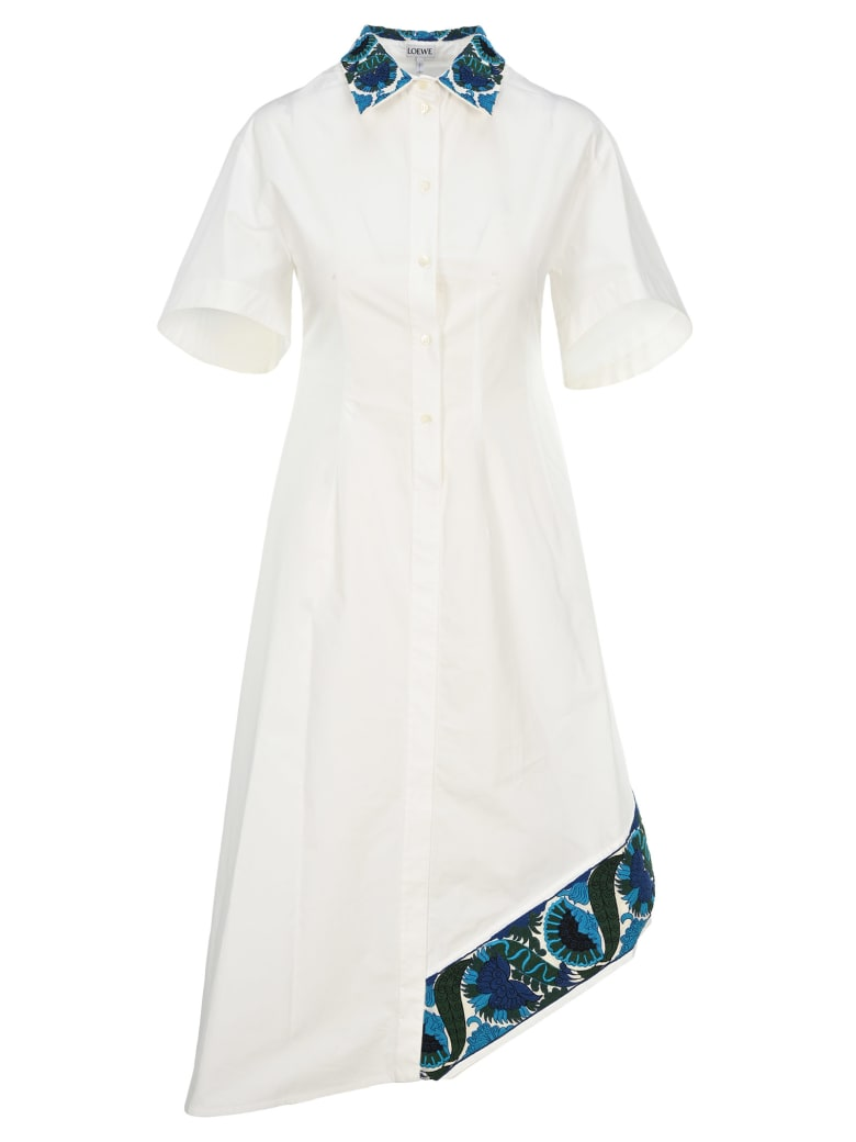 Loewe Embroidered Shirt Dress - WHITE