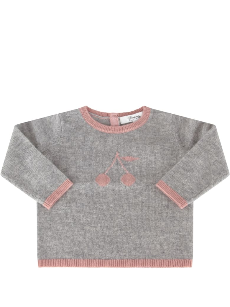 Bonpoint Grey Sweater For Babygirl With Cherries - Grigio