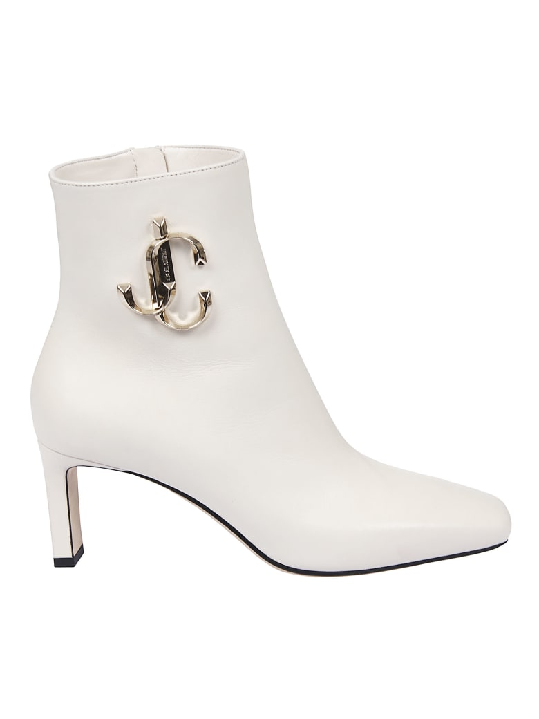 Jimmy Choo Logo Plaque Ankle Boots - Bianco