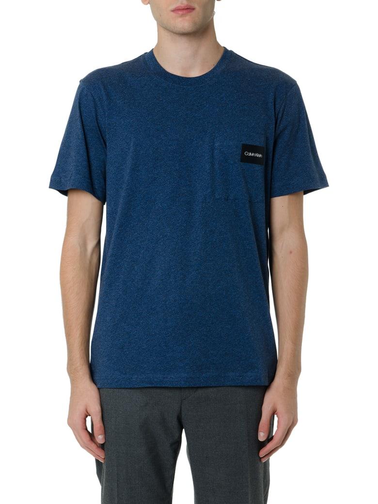Calvin Klein Basic T-shirt With Logo Patch - Blu