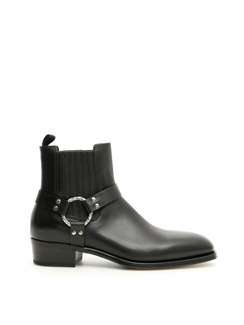 Alexander McQueen Leather Booties - BLACK BOTTLE GREEN (Black)