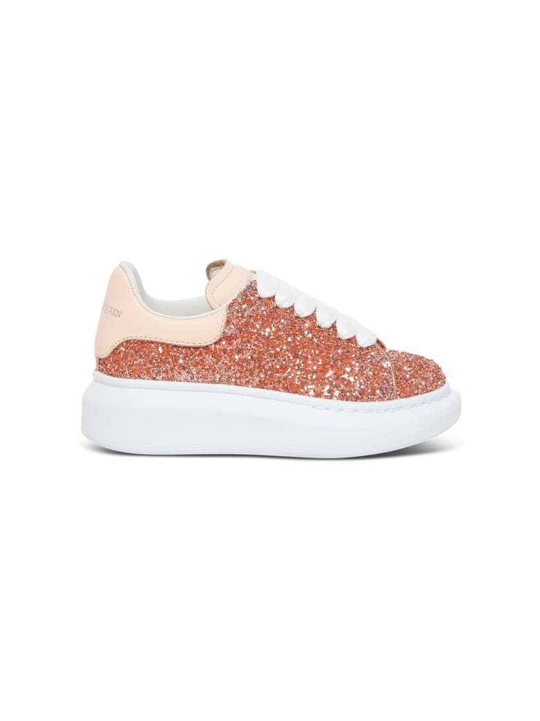 Alexander McQueen Big Sole Sneakers In Glittered Leather - Pink