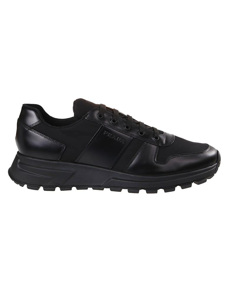 Prada Linea Rossa Engraved Logo Sneakers - Black