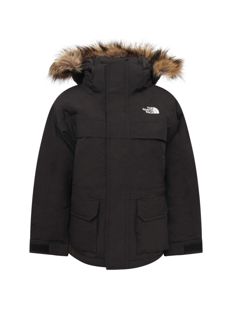 The North Face Black Boy Parka With Faux Fur Trimming - Black