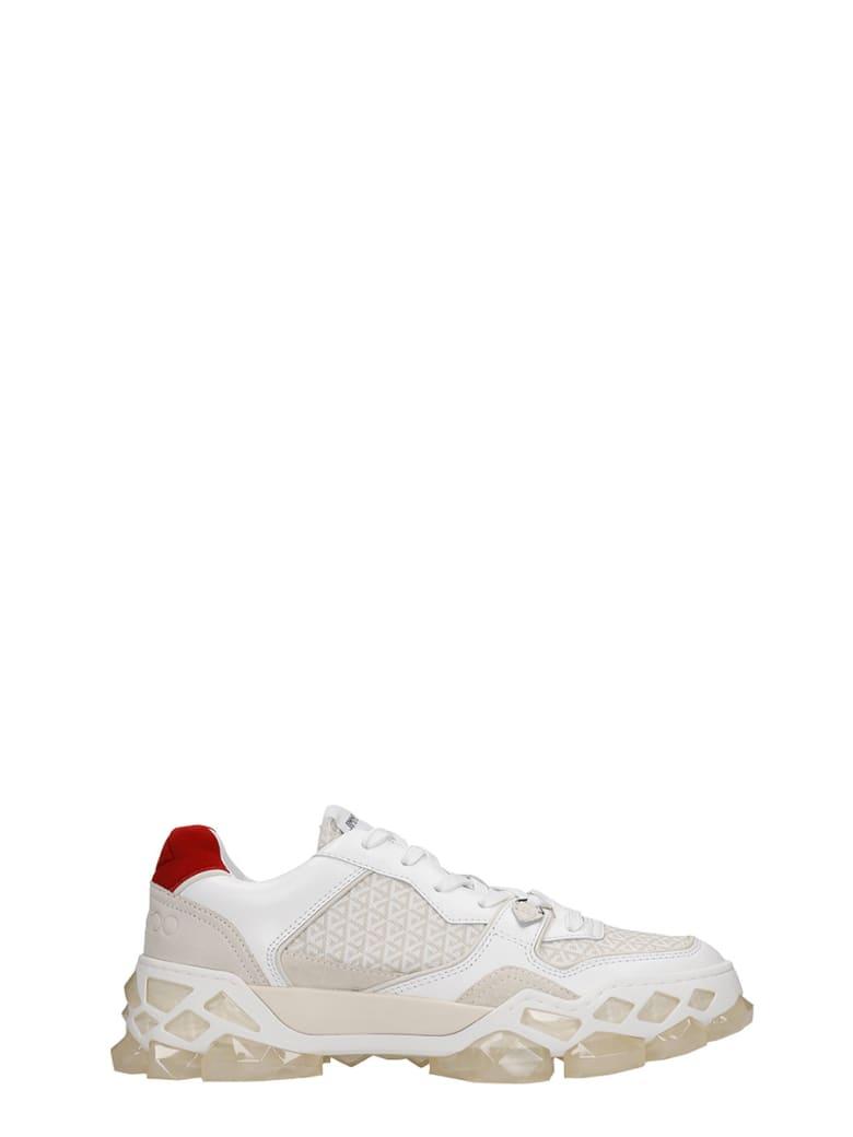 Jimmy Choo Diamond X Train Sneakers In White Leather - white