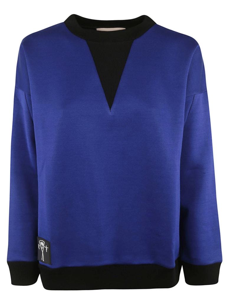 Plan C Logo Patch Ribbed Sweatshirt - Bluette