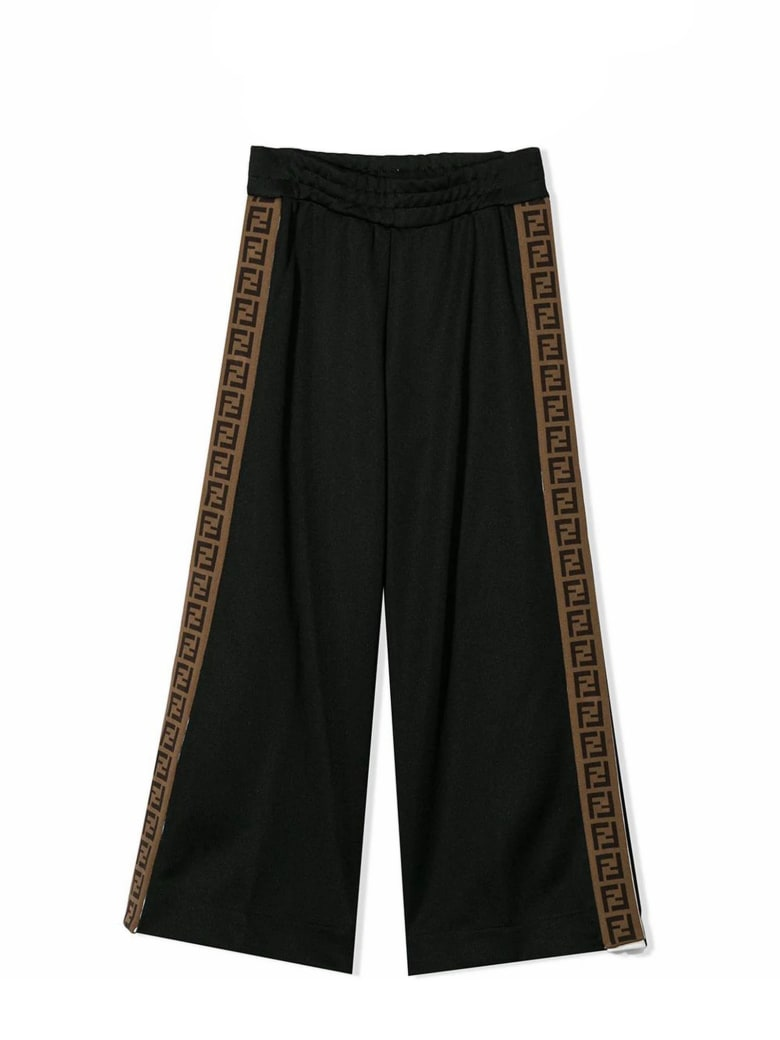 Fendi Black Ff Trim Pants - Nero