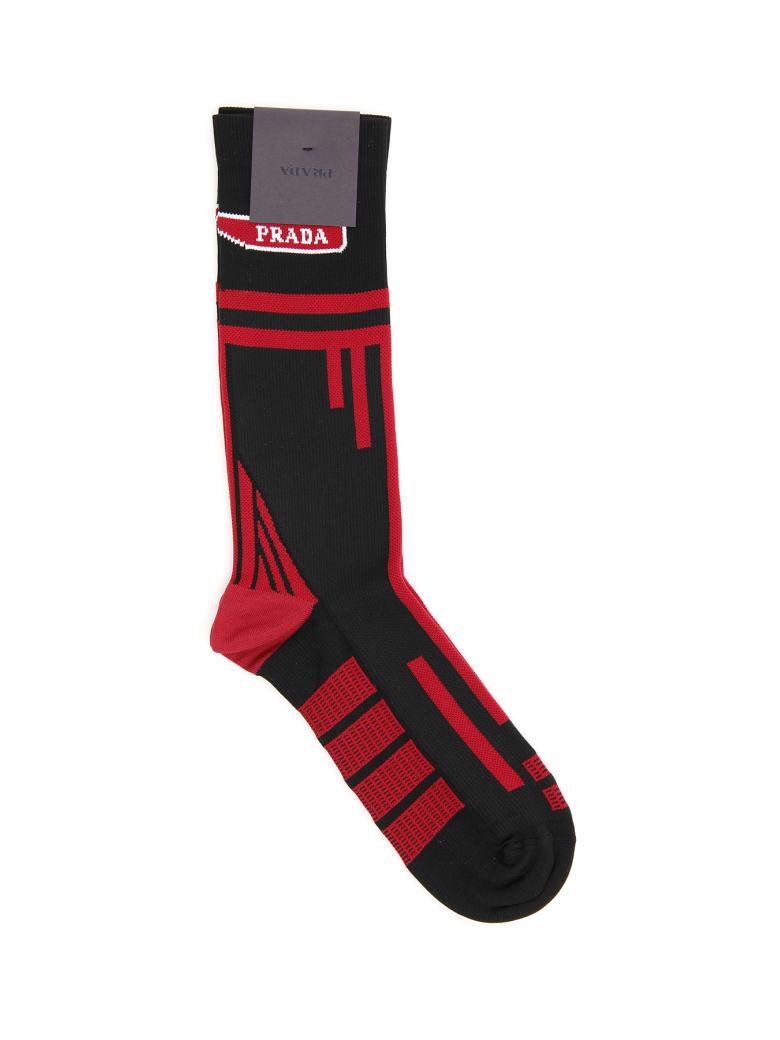 Prada Techno Nylon Socks - NERO CERISE (Black)