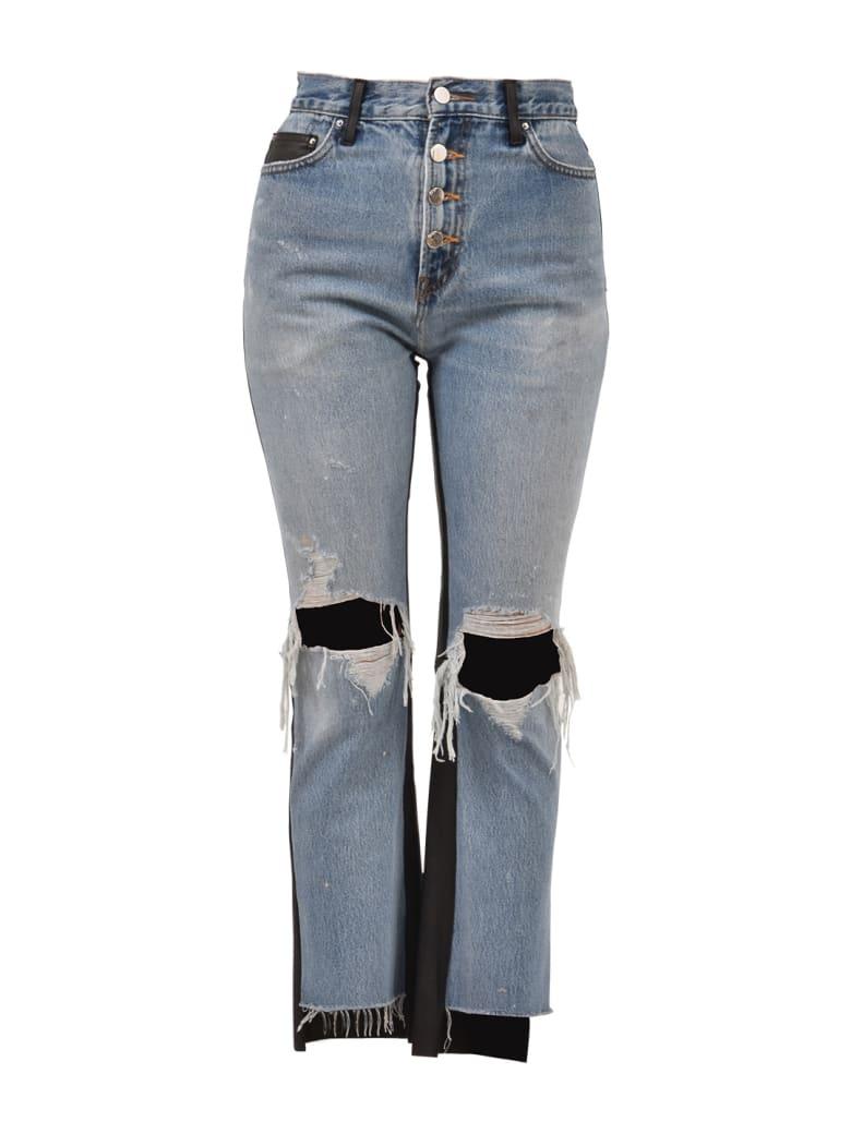 AMIRI Leather And Denim Jeans - Blue