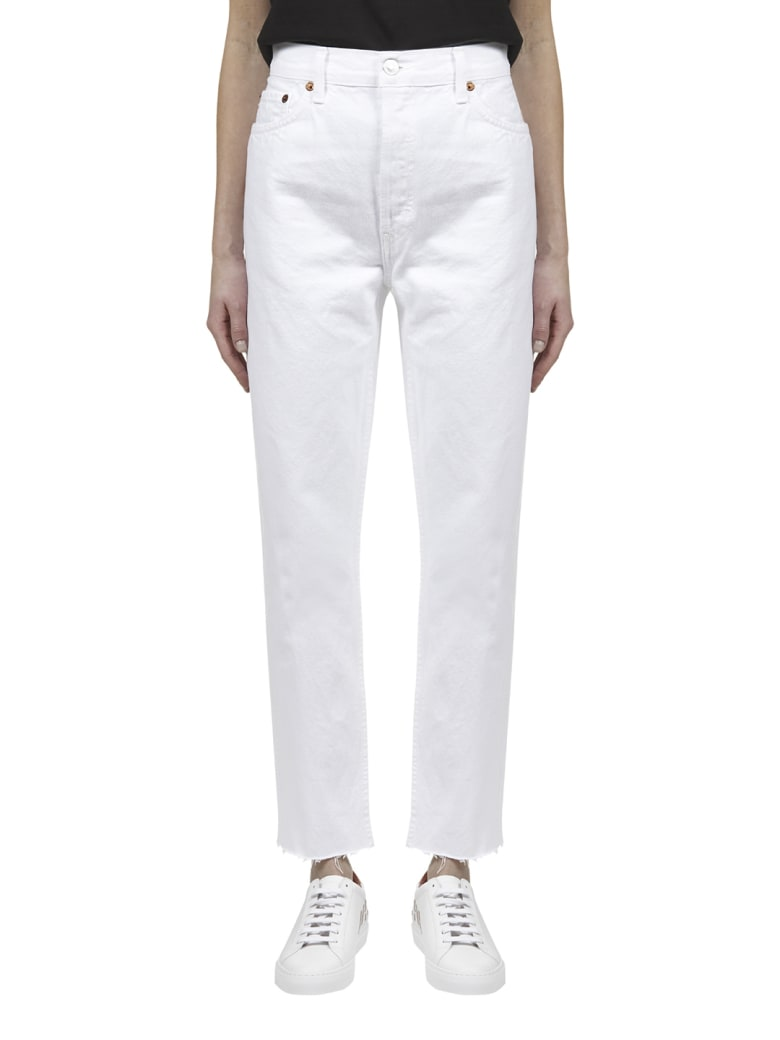 RE/DONE High Rise Stove Pipe Jeans - White