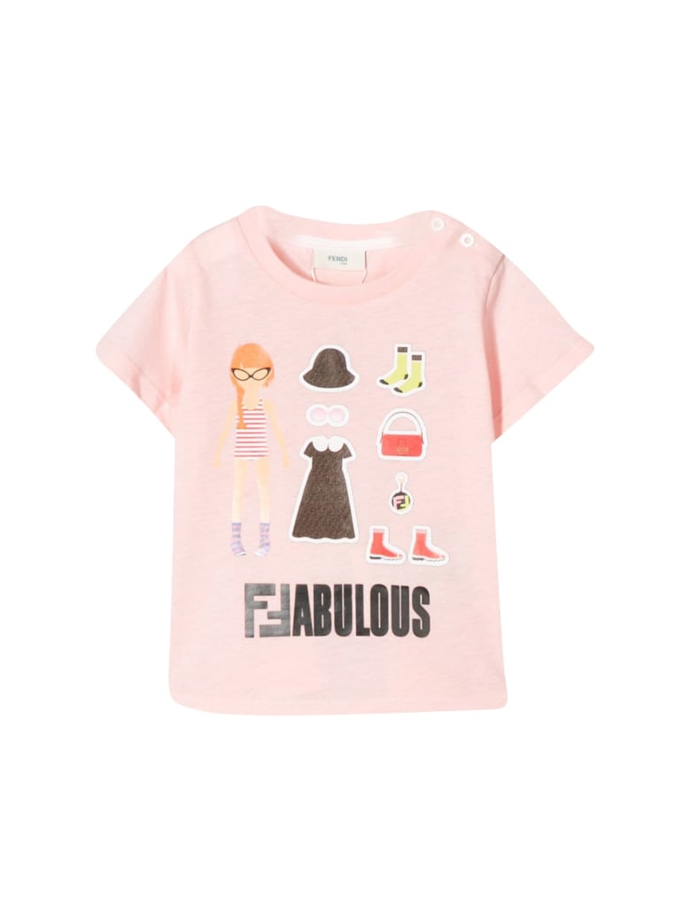 Fendi Kids Fabulous Print T-shirt - Rosa