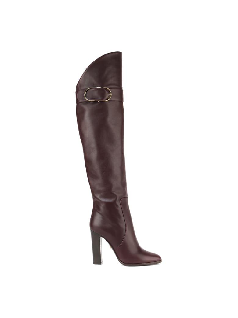 Dolce & Gabbana Slip On High Leather Boot - Bordeaux