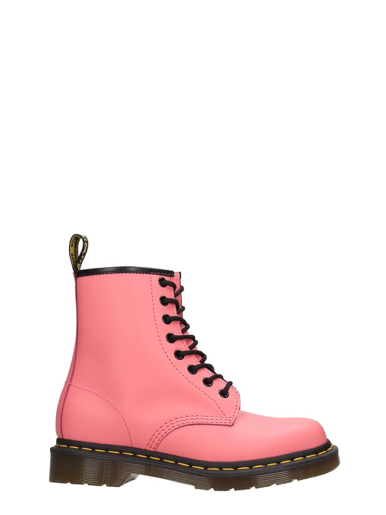 Dr. Martens 1460 Combat Boots In Rose-pink Leather - rose-pink