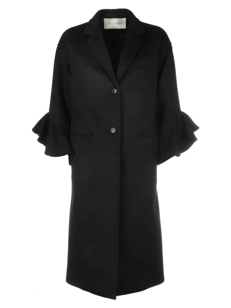 Valentino Wool Coat With Rouche Details/ruches Sleeves - No  Black