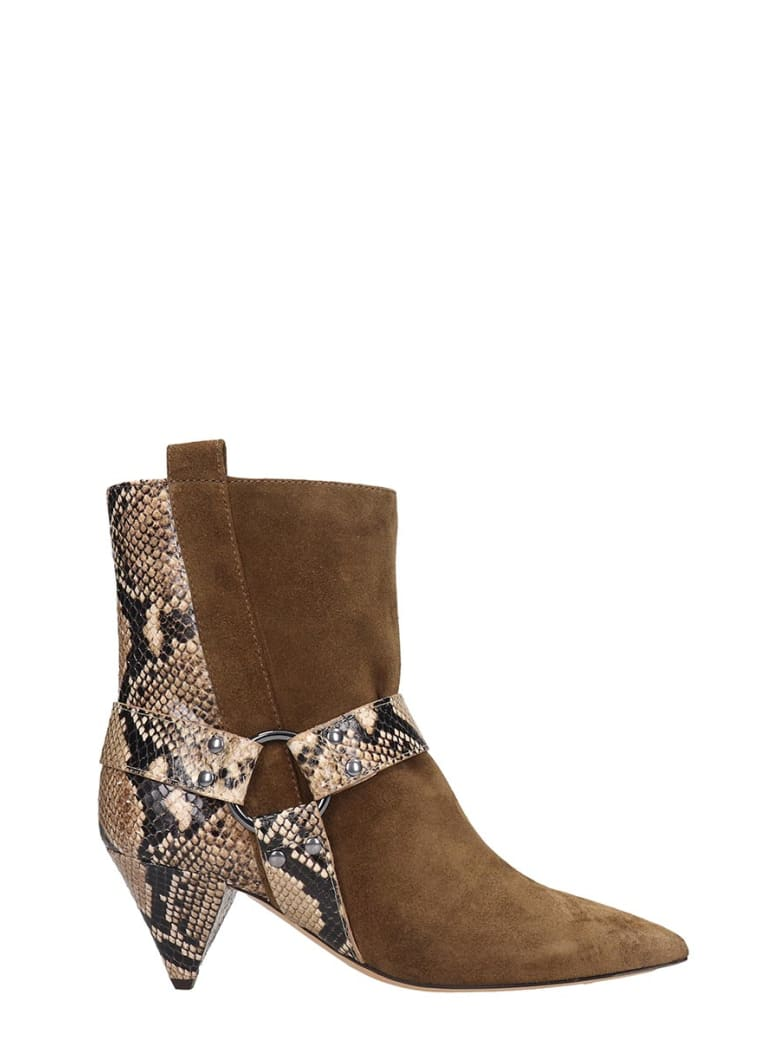 The Seller High Heels Ankle Boots In Beige Suede - beige