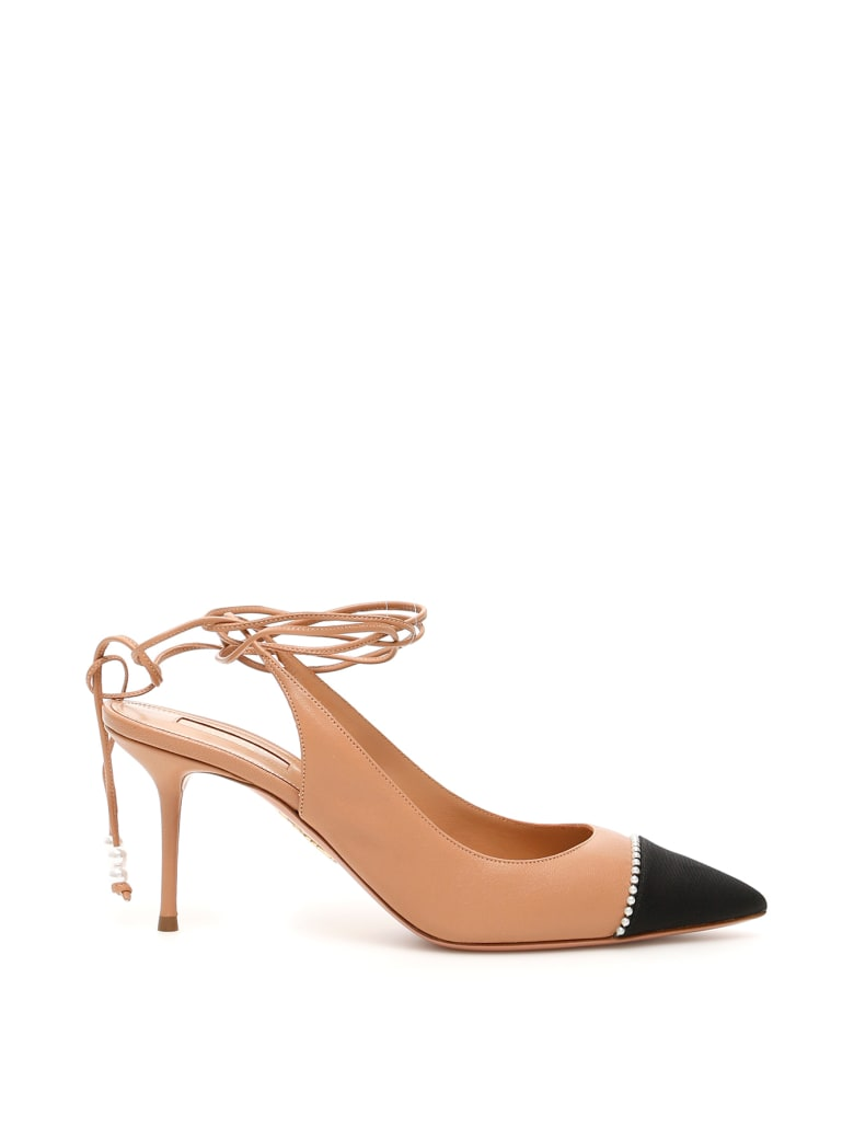 Aquazzura Mystique Slingbacks - BLACK DARK NUDE (Beige)