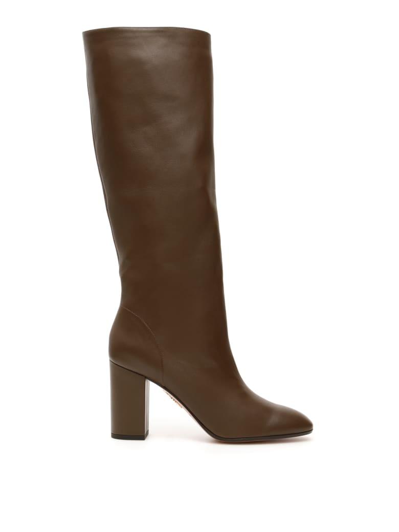 Aquazzura Boogie Boots 85 - DK MOSS GREEN (Brown)