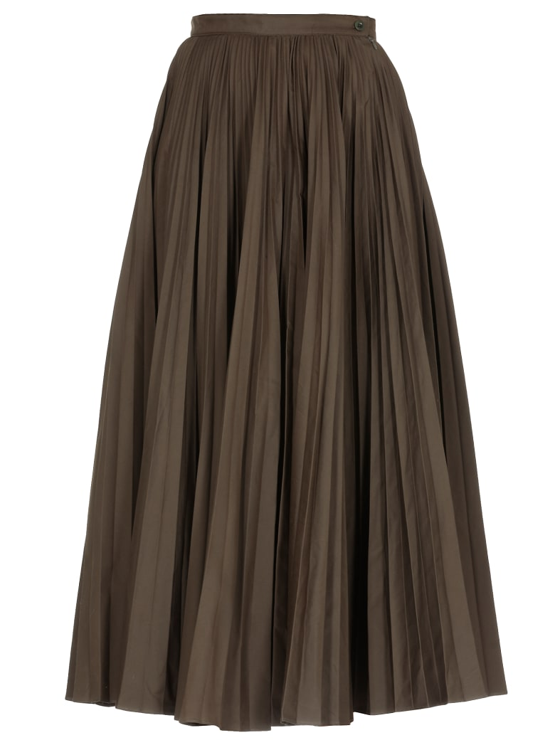 Katharine Hamnett Pleated Full Skirt - DARK KHAKI