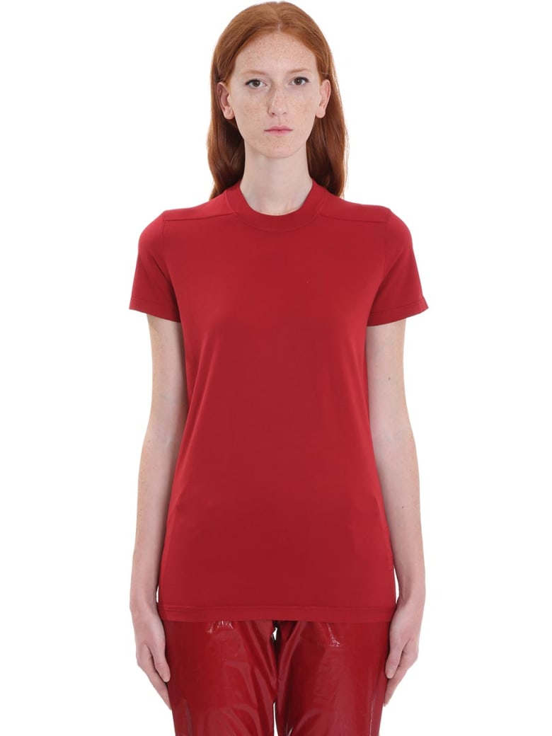 DRKSHDW Crew Level Shor T-shirt In Red Cotton - red