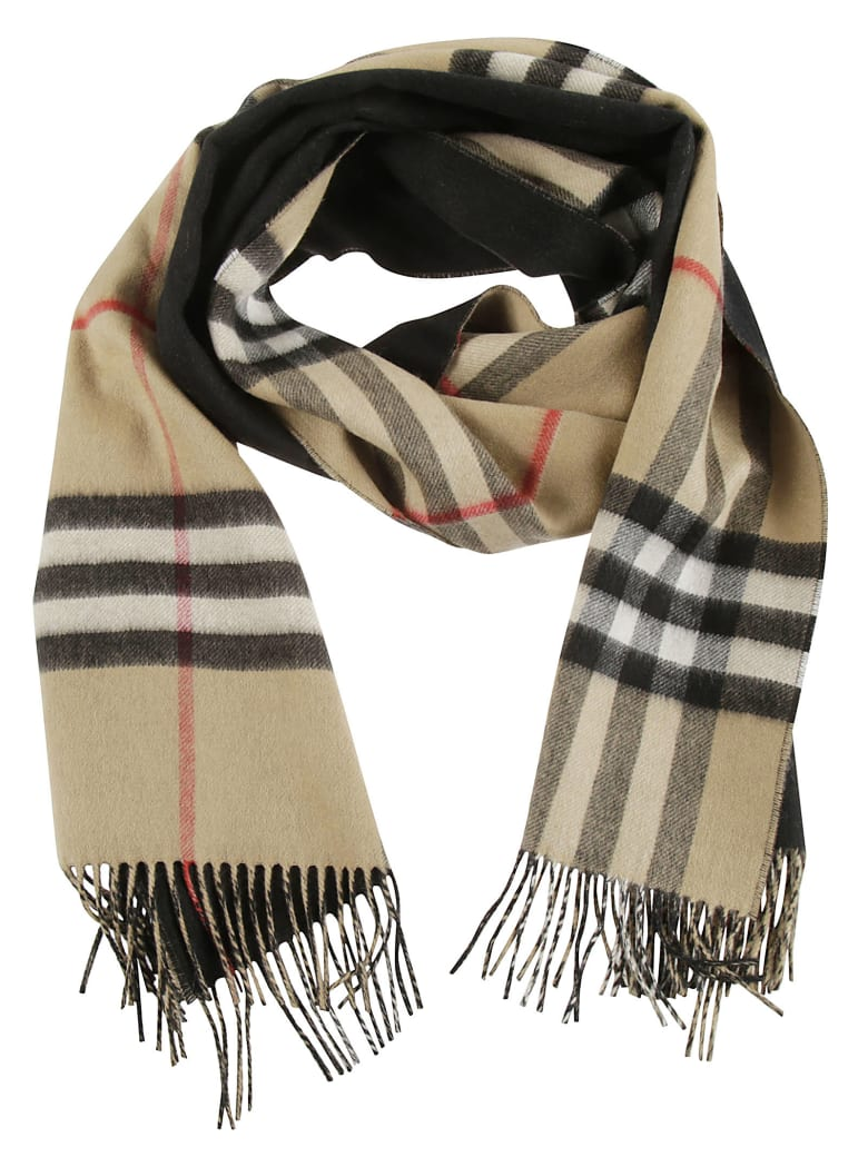 Burberry Giant Check To Solid Long Double Faced Scarf - Black