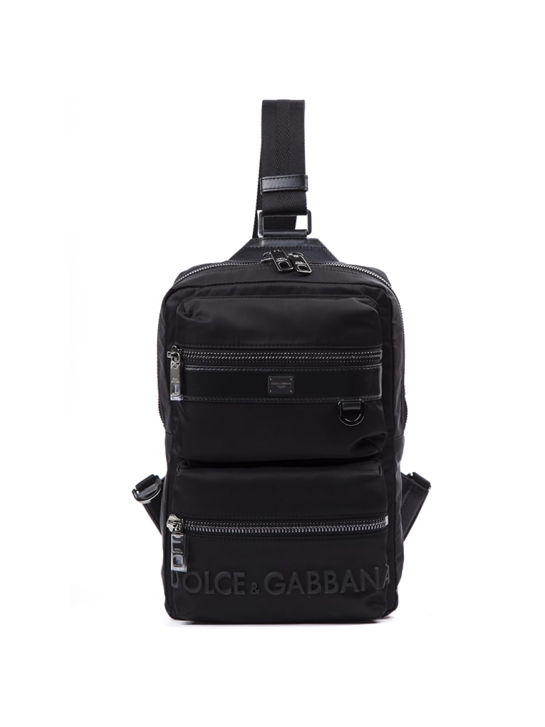 Dolce & Gabbana Black Sicilia Dna Nylon Backpack With Rubberized Logo - Black