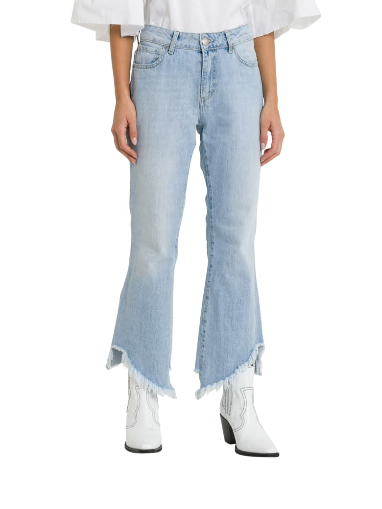 Federica Tosi Cropped And Frayed Tjeans - Blu