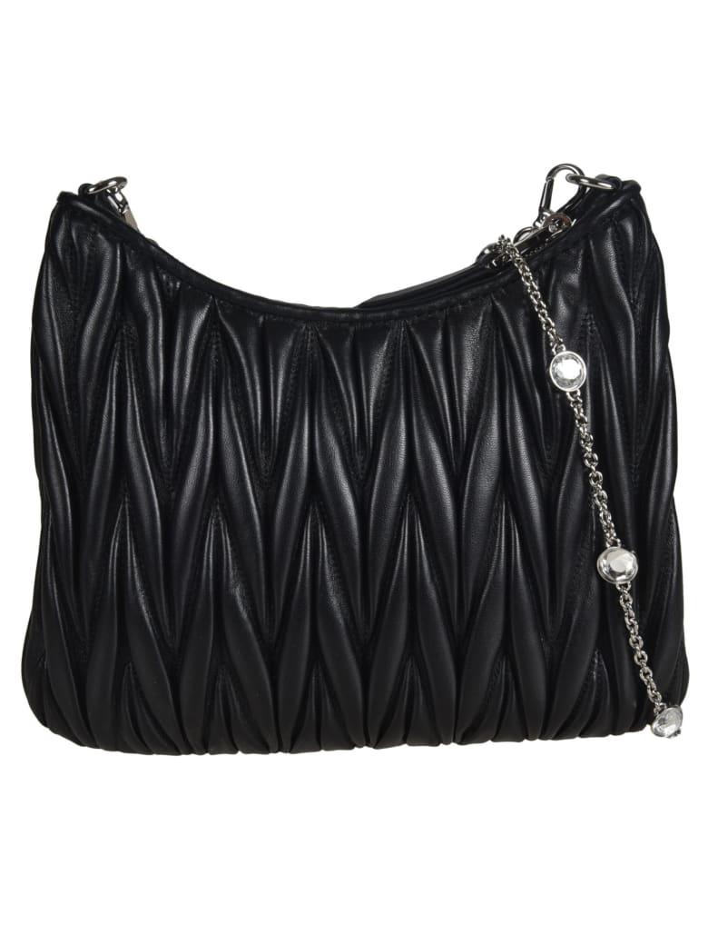 Miu Miu Matelassé Crystal Embellished Shoulder Bag - Black