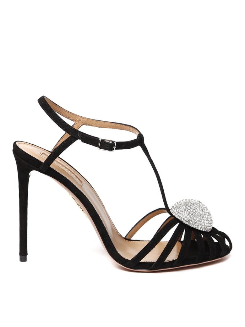 Aquazzura Black Sublime Suede Sandal With Jewel - Black