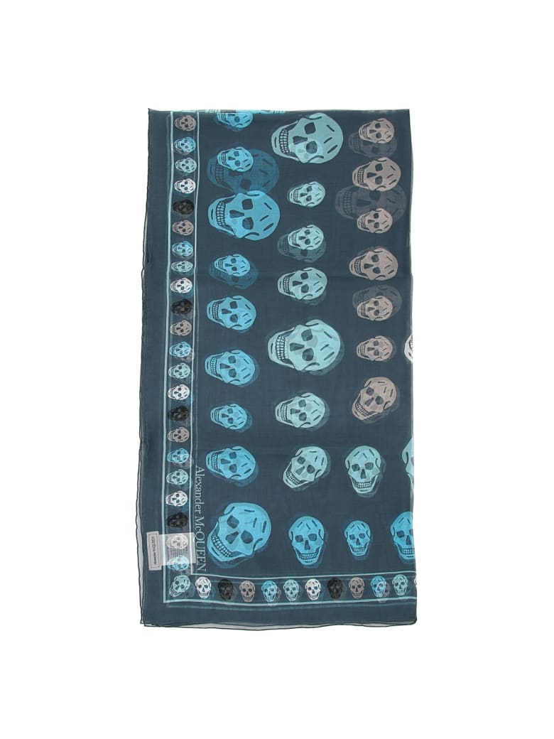 Alexander McQueen Silk Skull Scarf - SAPPHIRE SKY BLUE (Blue)