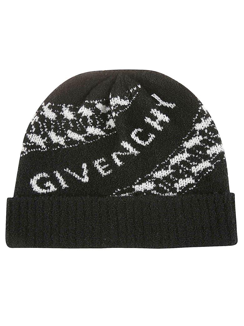 Givenchy Ribbed Logo Beanie - Nero
