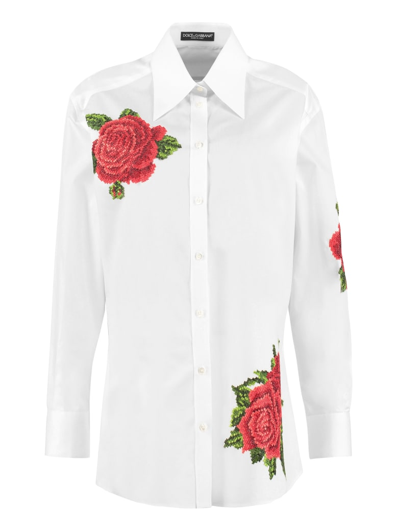 Dolce & Gabbana Embroidered Poplin Shirt - White
