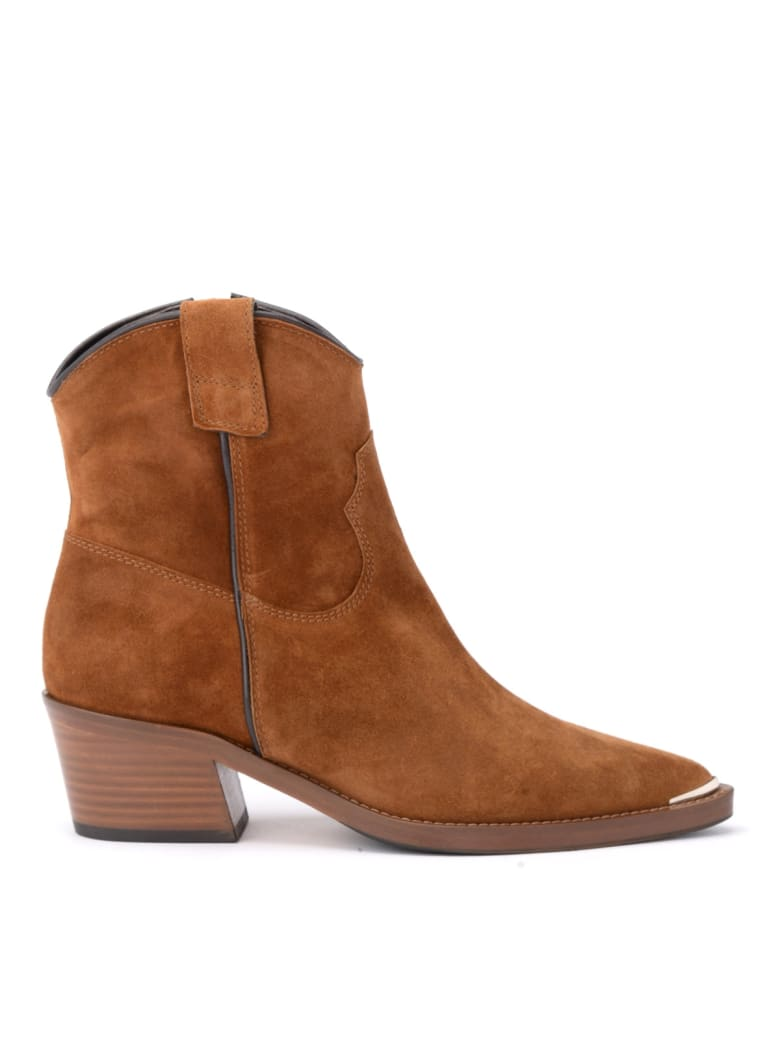 Via Roma 15 Texan Via Roma 15 Ankle Boot In Brown Suede - MARRONE