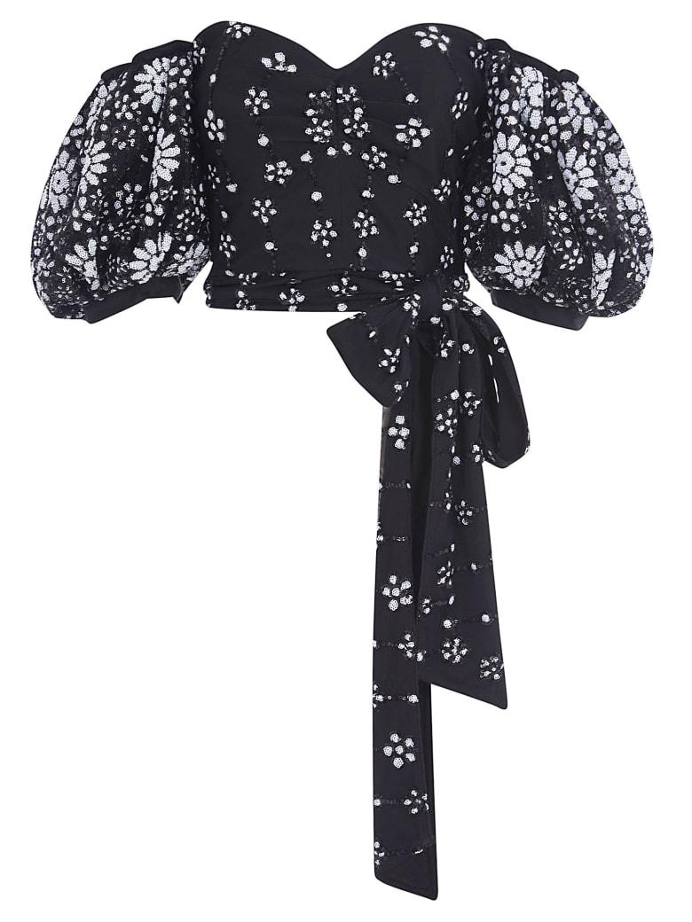 self-portrait Deco Sequin Mesh Puff Sleeve Top - Black