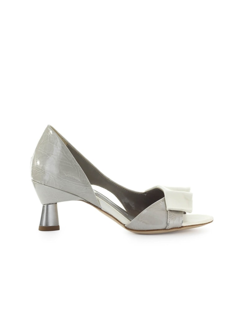 IXOS Bardot Grey White Open Toe Pump - Latte (Grey)