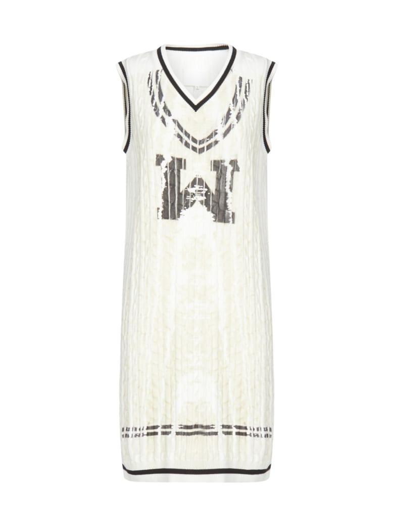 Maison Margiela Gauge 7 Rib And Cable Dress - White black print beige