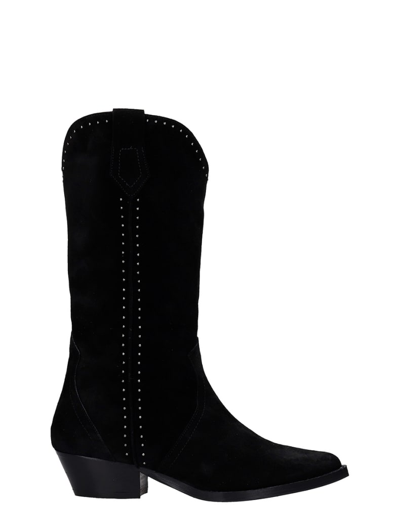 The Seller Texan Boots In Black Suede - black