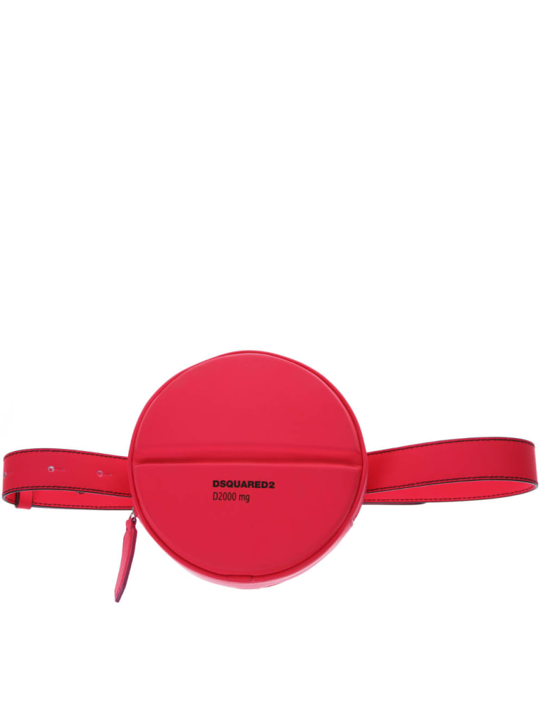 Dsquared2 Fucsia Logo Round Belt Bag In Leather - Fucsia fluo