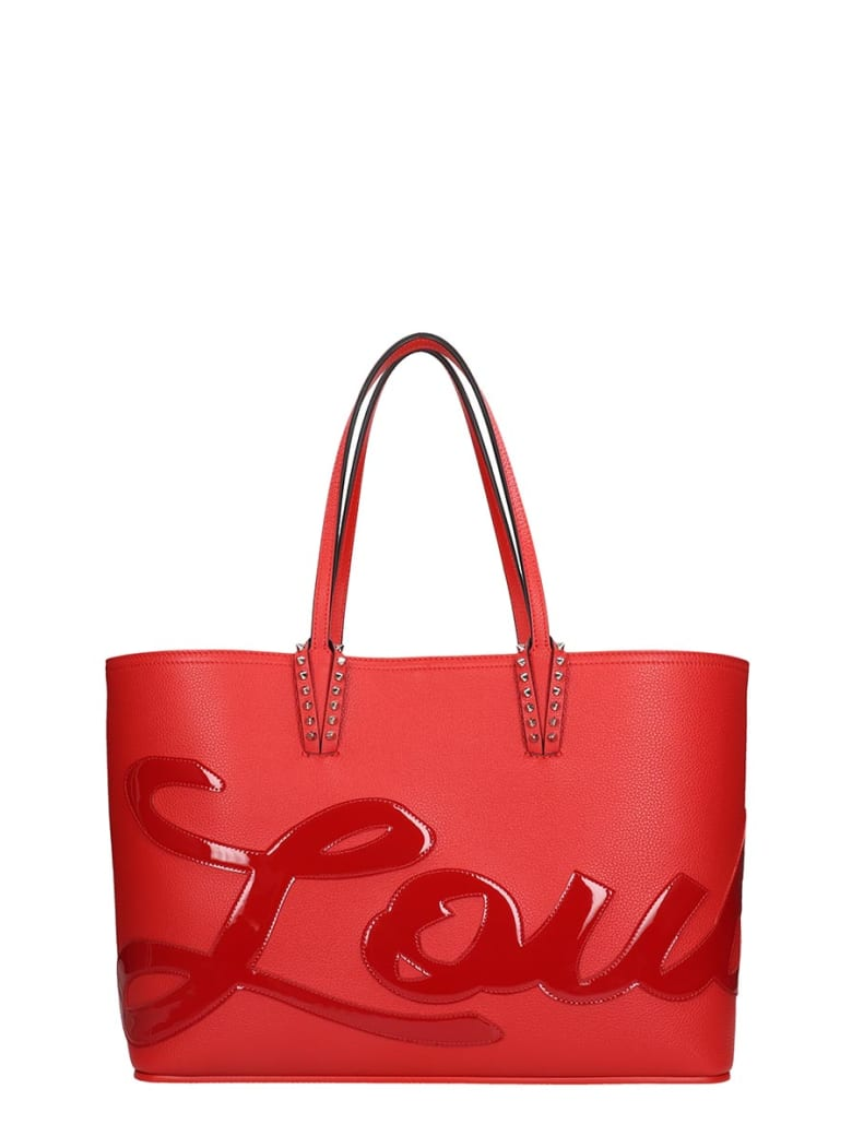 Christian Louboutin Cabata Logo Tote In Red Leather - red