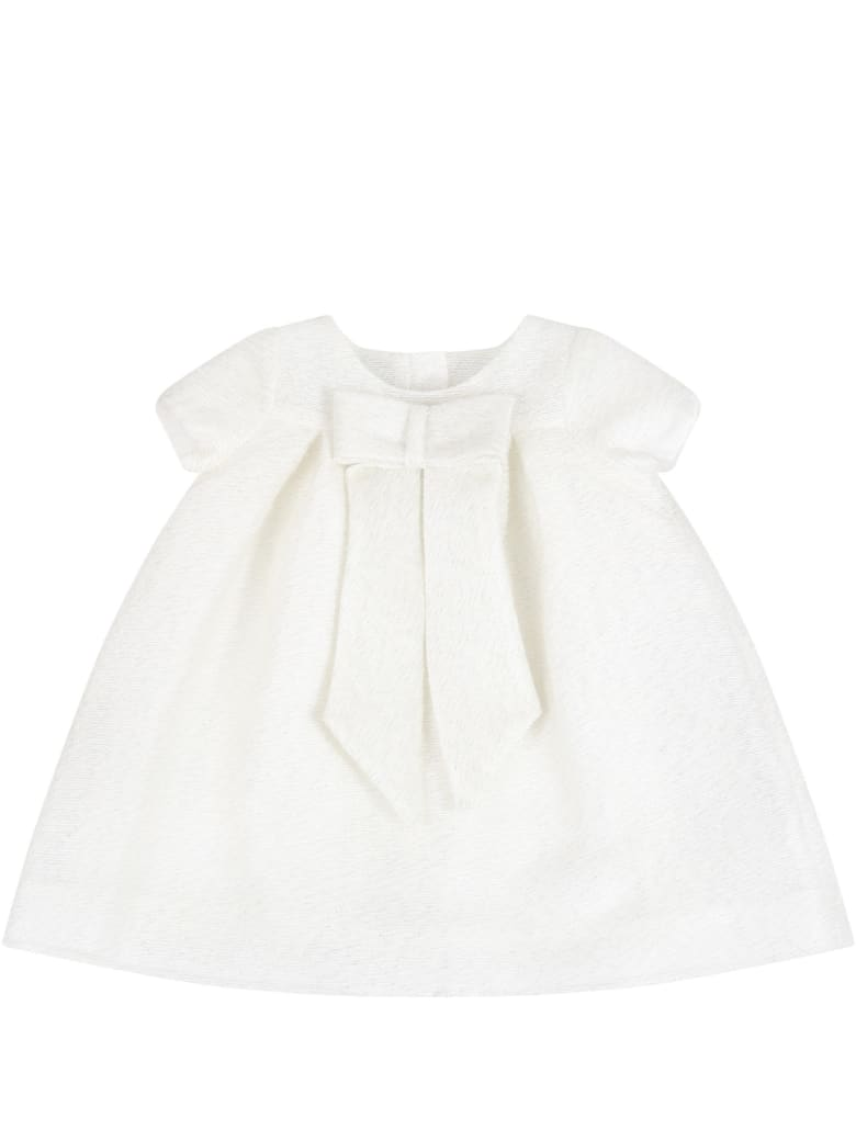 Little Bear Beige Dress For Babygirl With Bow - Beige