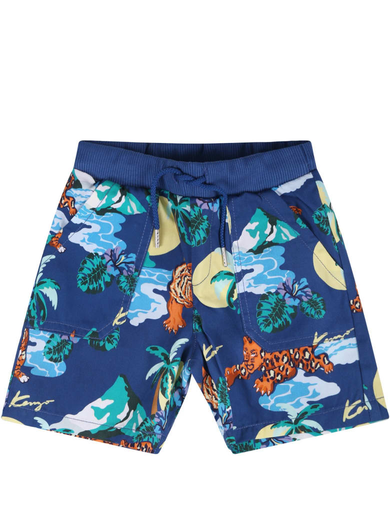 637dfc49 Kenzo Kids Blue Babyboy Short With All-over Tigers