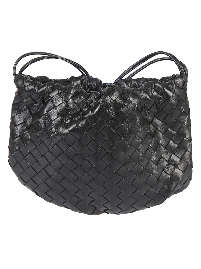 Bottega Veneta Woven Shoulder Bag - Black/Gold