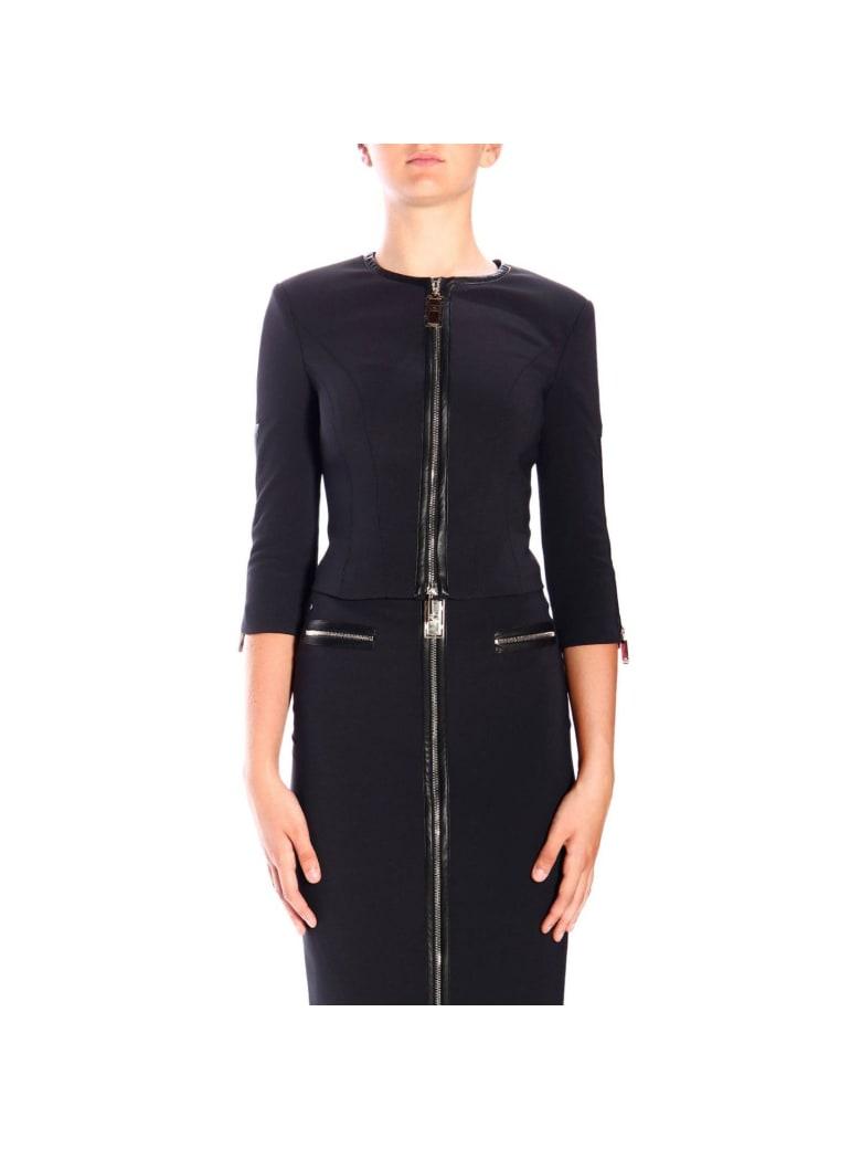 Elisabetta Franchi Celyn B. Elisabetta Franchi Suit Elisabetta Franchi Crew-neck Jacket In Bi-elastic Fabric With Zip - black