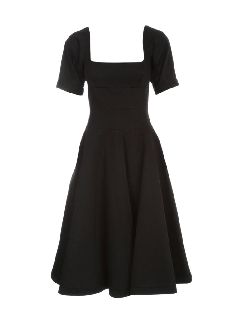 Giovanni Bedin Denim Half Sleeves Godet Midi Dress - Black